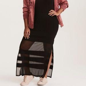 Torrid Mesh Side Slit Maxi Skirt Black Striped